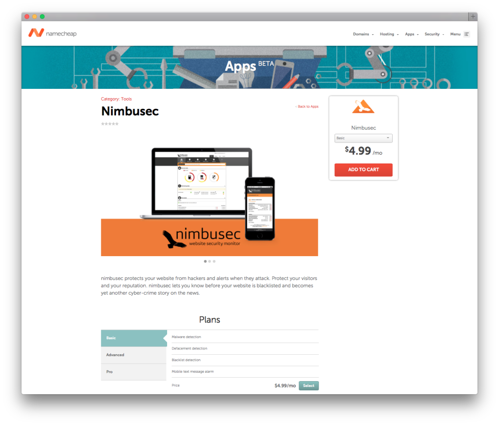 presentation of nimbusec in the marketplace of namecheap