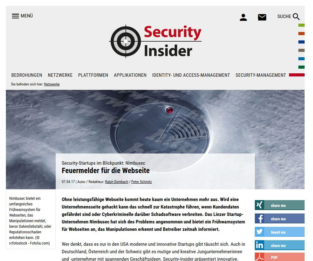 Nimbusec bei SECURITY-INSIDER.deNimbusec @ security-insider.de